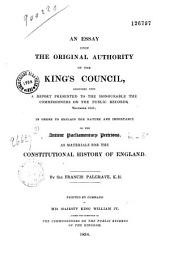 An essay upon the original authority of the Kings councils...
