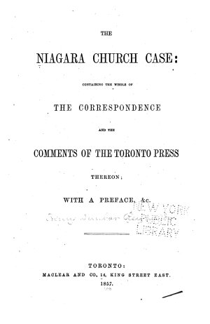 The Niagara Church Case