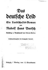 Das deutsche Leid: ein Landschafts-Roman