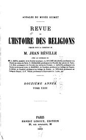Revue de l'histoire des religions: Volume12;Volumes23à24