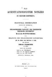 Das Accentuationssystem Notkers in seinem Boethius