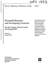 Nontariff Measures and Developing Countries: Has the Uruguay Round Leveled the Playing Field?
