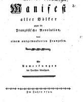 Manifest aller V  lker gegen die Franz  sische Revolution PDF