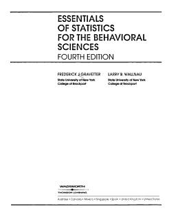Essentials of Statistics for the Behavioral Sciences Book