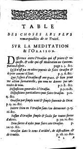 La pratique de l'oraison, et méditation chrétienne