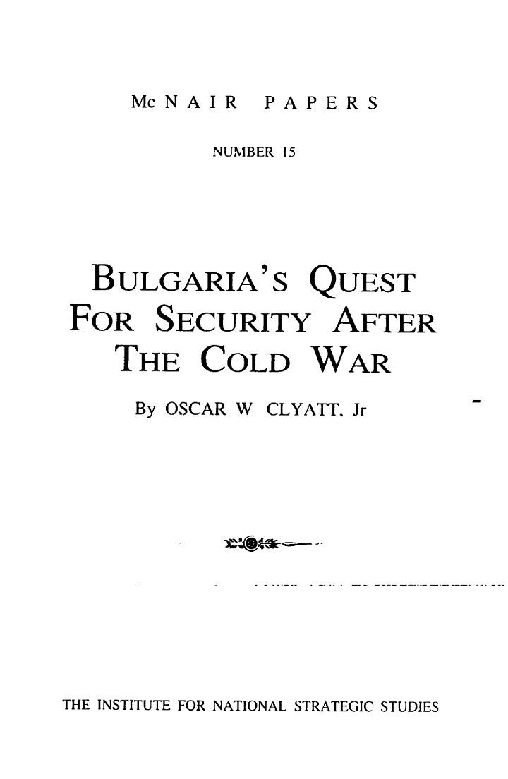 Bulgaria's quest for security after the cold war