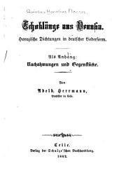 Echoklänge aus Venusia: Horazische dichtungen in deutscher liederform
