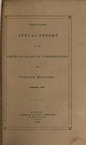 Report of the American Board of Commissioners for Foreign Missions: Volume 28
