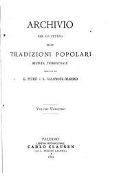 Archivio per lo studio delle tradizioni popolari: Volume 11