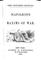 Napoleon s Maxims of War PDF