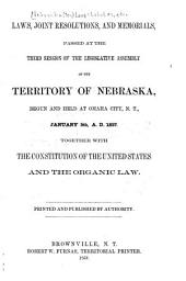 Laws, Joint Resolutions and Memorials: Passed at the Regular Session of the ... General Assembly of the Territory of Nebraska ...