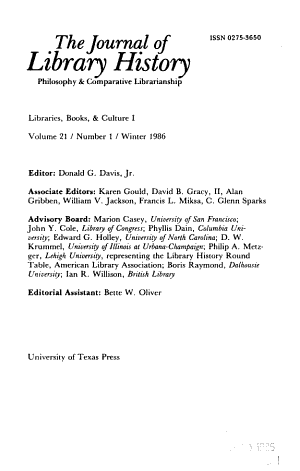 The Journal of Library History PDF