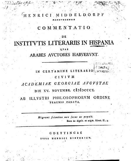 Commentatio de institutis literariis in Hispania  quae Arabes auctores habuerunt PDF