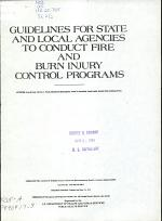 Guidelines for State and Local Agencies to Conduct Fire and Burn Injury Control Programs