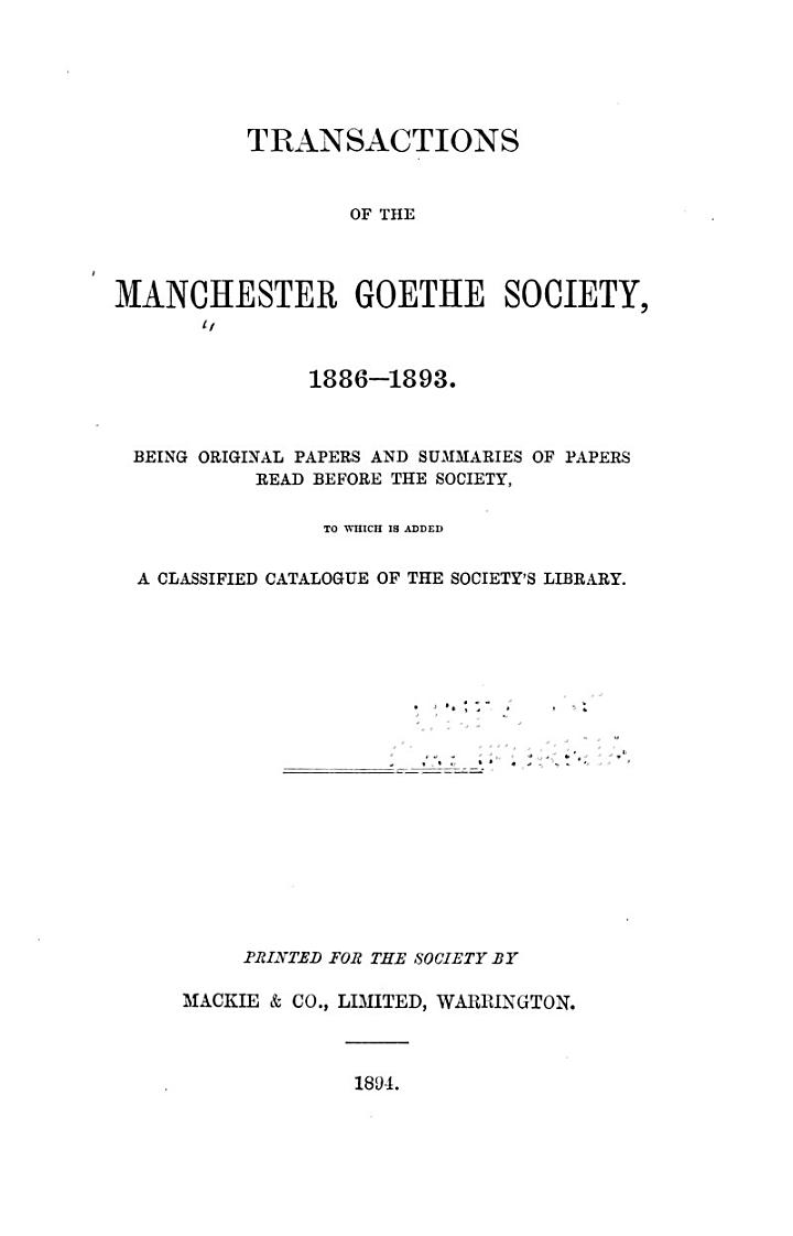 Transactions of the Manchester Goethe Society, 1886-1893