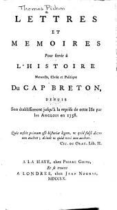 Lettres et mémoires pour servir à l'histoire naturelle, civile et politique du Cap Breton