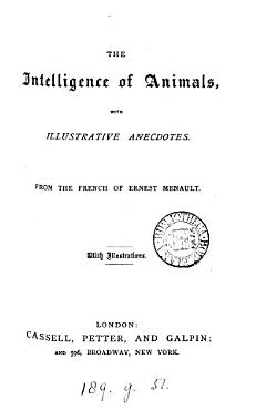 The Intelligence of Animals     From the French     PDF