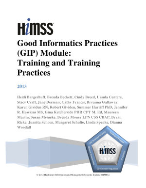 Good Informatics Practices  GIP  Module  Training and Training Practices