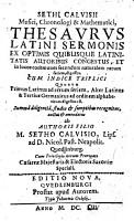 M  Sethi Sethi Calvisii Chronolog  Filii Thesavrvs latini sermonis Recognitus PDF