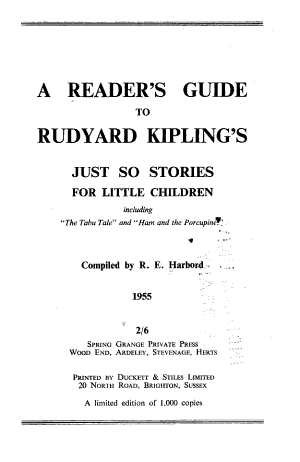 A Reader's Guide to Rudyard Kipling's Just So Stories for Little Children