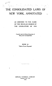 McKinney's Consolidated Laws of New York Annotated: With Annotations from State and Federal Courts and State Agencies, Book 66