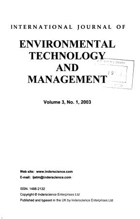 International Journal of Environmental Technology and Management PDF