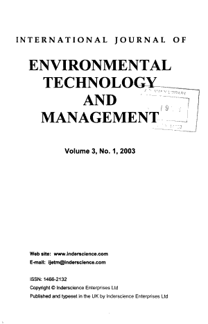 International Journal of Environmental Technology and Management PDF