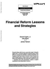 Financial Reform: Lessons and Strategies
