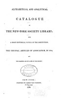 Alphabetical and Analytical Catalogue of the New York Society Library PDF