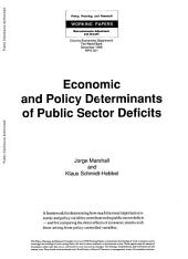 Economic and Policy Determinants of Public Sector Deficits: Volume 321
