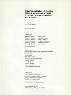 Environmentally Based Siting Assessment for Synthetic Liquid Fuels Facilities PDF