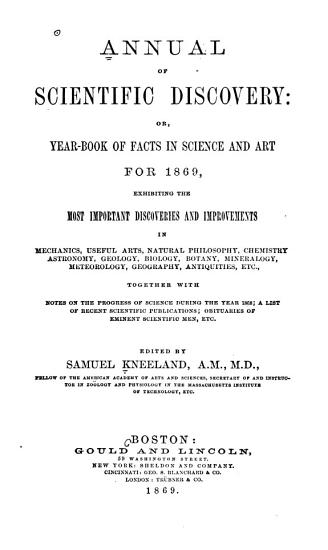 The Annual of Scientific Discovery  Or  Year book of Facts in Science and Art PDF