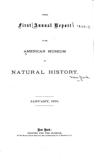 Annual Report of the American Museum of Natural History PDF