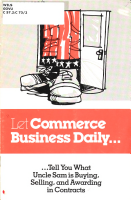 Let Commerce Business Daily Tell You what Uncle Sam is Buying  Selling  and Awarding in Contracts PDF