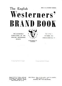 The English Westerners  Brand Book