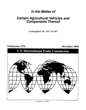 Certain Agricultural Vehicles and Components Thereof, Inv. 337-TA-487