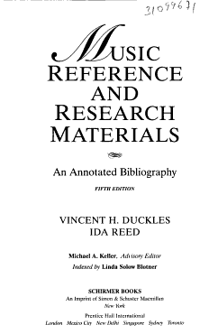 Music Reference and Research Materials PDF