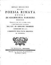 Dell'origine della poesia rimata di Giammaria Barbieri Modenese