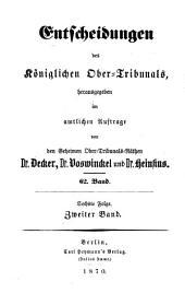 Entscheidungen des Königlichen Ober-Tribunals: Band 62