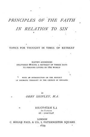 Principles of the Faith in Relation to Sin