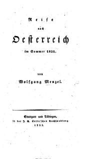 Reise nach Oesterreich im Sommer 1831
