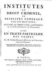 Institutes au droit criminel