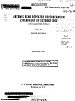 Artemis Echo Repeater Reverberation Experiment of October 1962