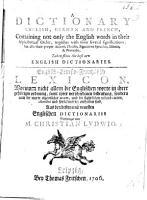 A Dictionary  English  German and French     Englisch Teutsch Frantz  sisch Lexicon  etc PDF