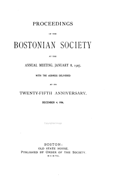 Proceedings of the Bostonian Society  Annual Meeting PDF