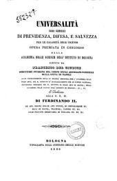 Universalità dei mezzi di previdenza, difesa, e salvezza per le calamità degl'incendi scritta da Francesco del Giudice