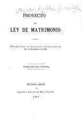 Proyecto de ley de matrimonio presentado al Congreso Argentino en 22 de setiembre de 1887