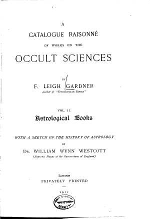 A    Catalogue Raisonn   of Works on the Occult Sciences