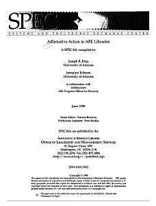 Affirmative Action in ARL Libraries PDF