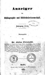 Anzeiger fur Bibliographie und Bibliothekwissenschaft PDF